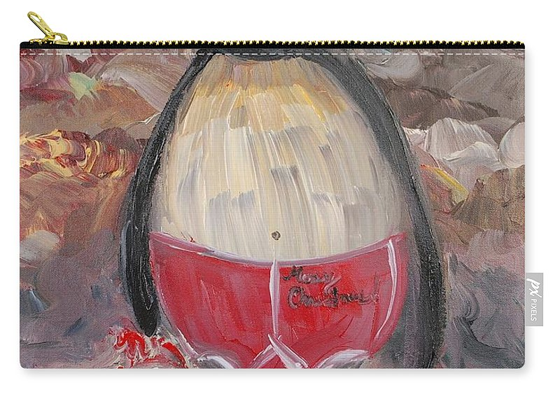 Penguin Carry-all Pouch featuring the painting Christmas Penguin by Nadine Rippelmeyer