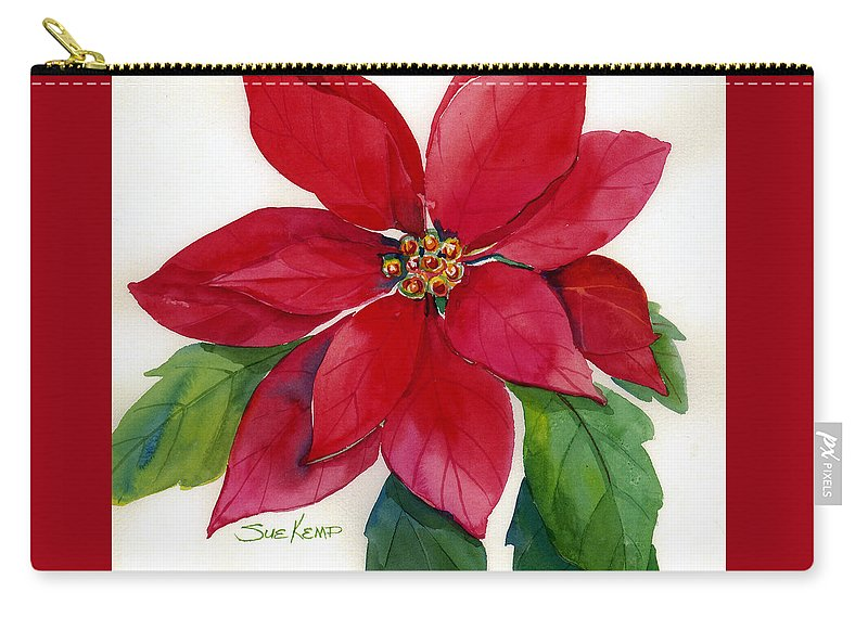 Flower Painting Carry-all Pouch featuring the painting Christmas Poinsettia by Sue Kemp