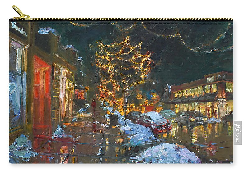 Christmas Lights Carry-all Pouch featuring the painting Christmas Reflections by Ylli Haruni