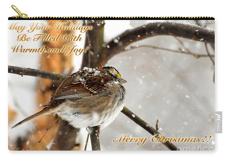 Christmas Carry-all Pouch featuring the photograph Christmas Sparrow - Christmas Card by Lois Bryan