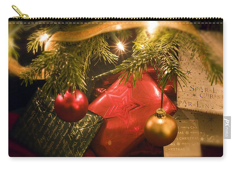 Christmas Carry-all Pouch featuring the photograph Christmas Tree Decorations And Gifts by Mal Bray