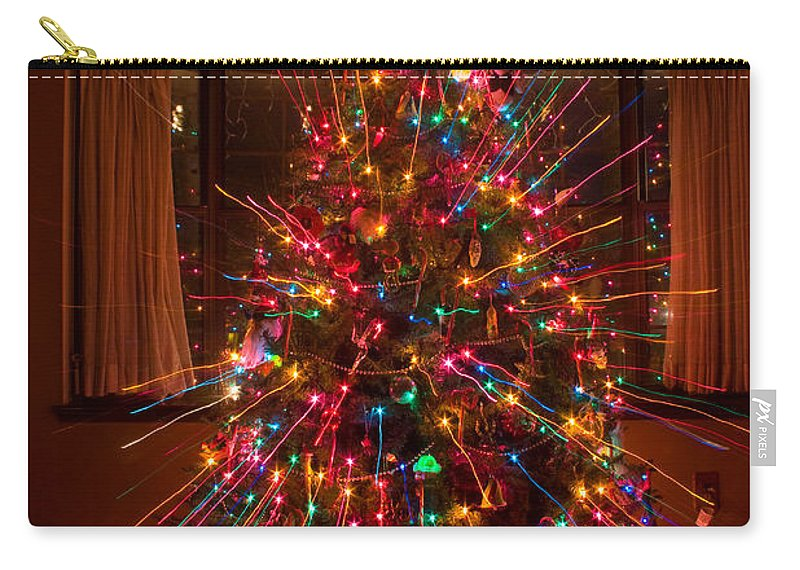 Abstracts Carry-all Pouch featuring the photograph Christmas Tree Light Spikes Colorful Abstract by James BO Insogna