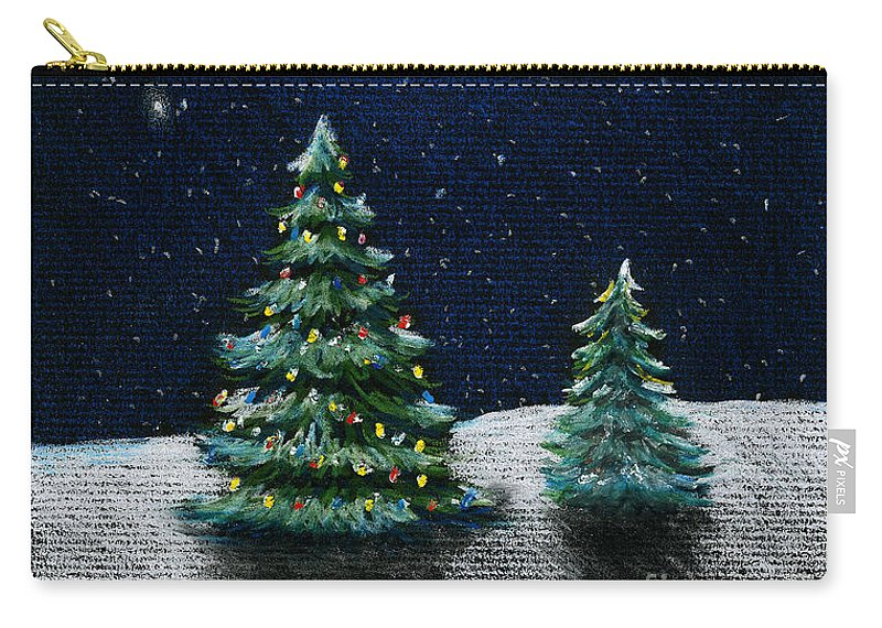 Christmas Trees Carry-all Pouch featuring the drawing Christmas Trees in the Moonlight by Nancy Mueller
