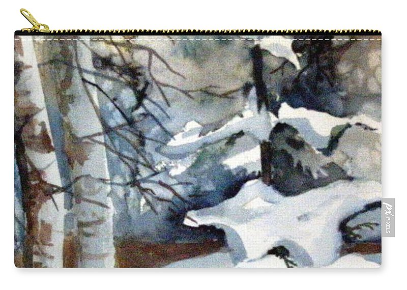 Christmas Trees Carry-all Pouch featuring the painting Christmas Trees by Mindy Newman