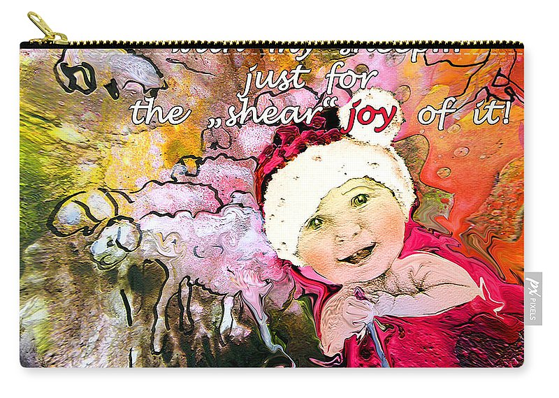 Acrylics Carry-all Pouch featuring the painting Christmas with My Sheep by Miki De Goodaboom