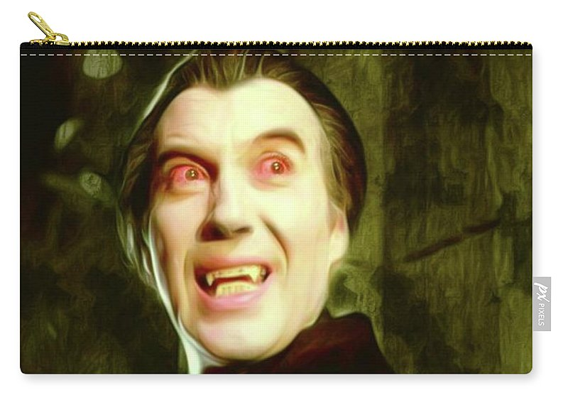 Christopher Carry-all Pouch featuring the digital art Christopher Lee, Dracula by Mary Bassett