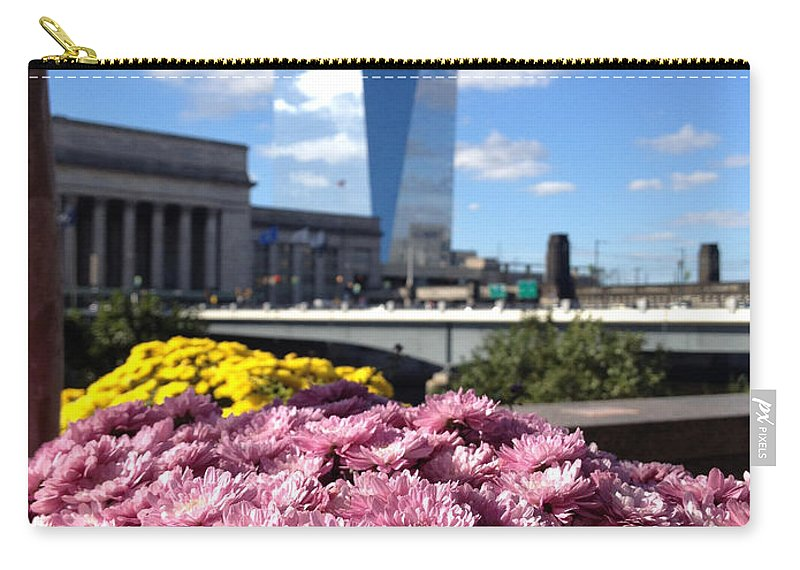 Philadelphia Carry-all Pouch featuring the photograph Chrysanthemums And Cirrus by Clay Cofer