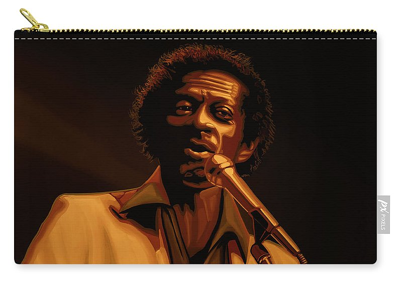 Chuck Berry Carry-all Pouch featuring the mixed media Chuck Berry Gold by Paul Meijering