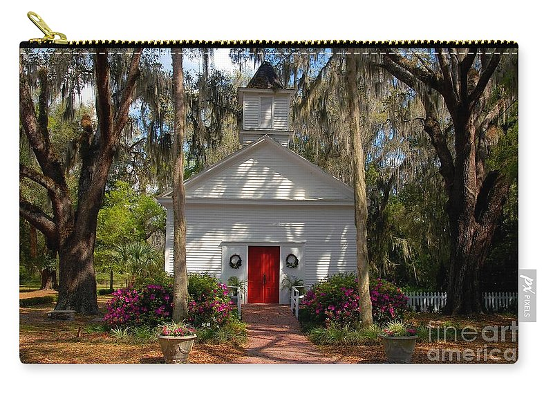Micanopy Florida Carry-all Pouch featuring the photograph Church At Micanopy by David Lee Thompson
