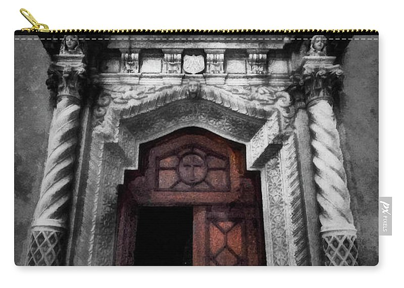 Church Carry-all Pouch featuring the mixed media Church Entrance by Joseph Hollingsworth