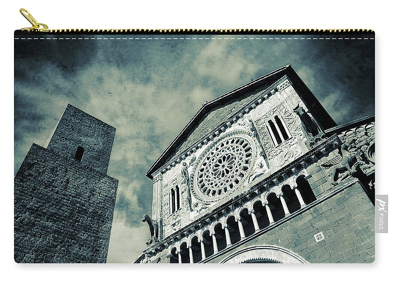 Split Toned Carry-all Pouch featuring the photograph Church Of San Pietro - Tuscania by Silvia Ganora