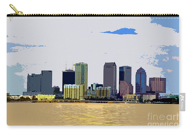 Cigar City Carry-all Pouch featuring the painting Cigar City Skyline by David Lee Thompson