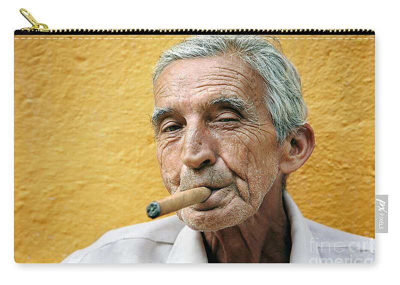 Portrait Carry-all Pouch featuring the photograph Cigar Smoking - Trinidad - Cuba by Rod McLean