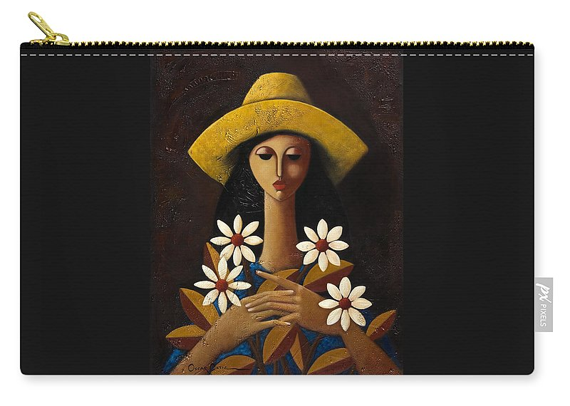 Puerto Rico Carry-all Pouch featuring the painting Cinco Margaritas by Oscar Ortiz