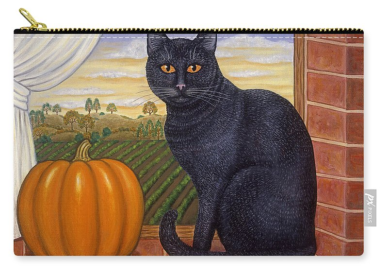 Folk Art Cat Carry-all Pouch featuring the painting Cinder The Cat by Linda Mears