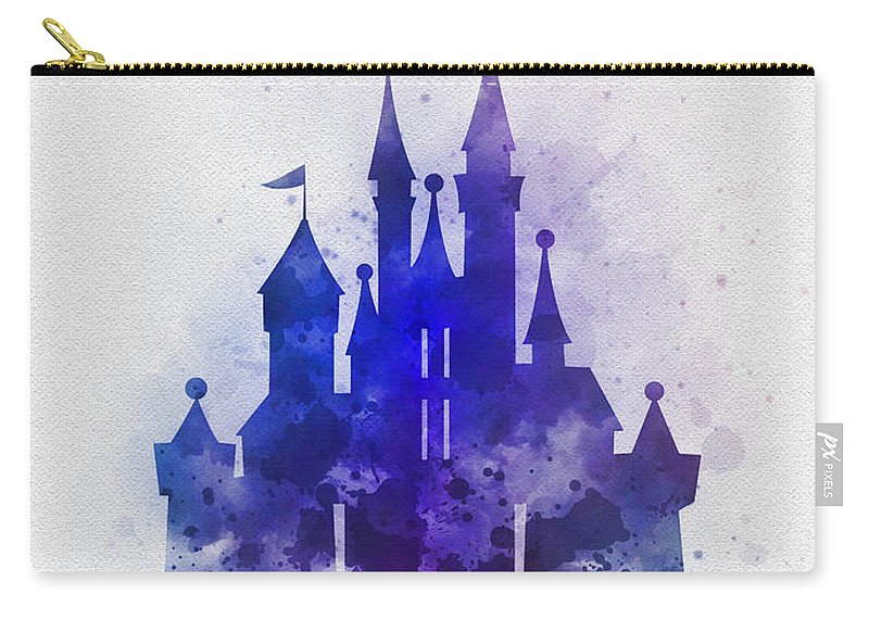 Cinderella Carry-all Pouch featuring the mixed media Cinderella Castle Blue by My Inspiration