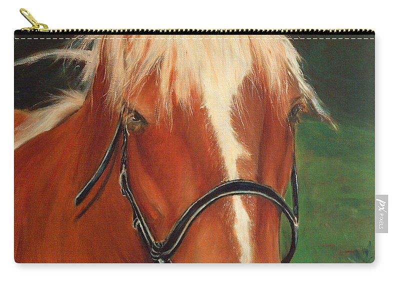 Euqestrian Art Carry-all Pouch featuring the painting Cinnamon The Horse by Portraits By NC
