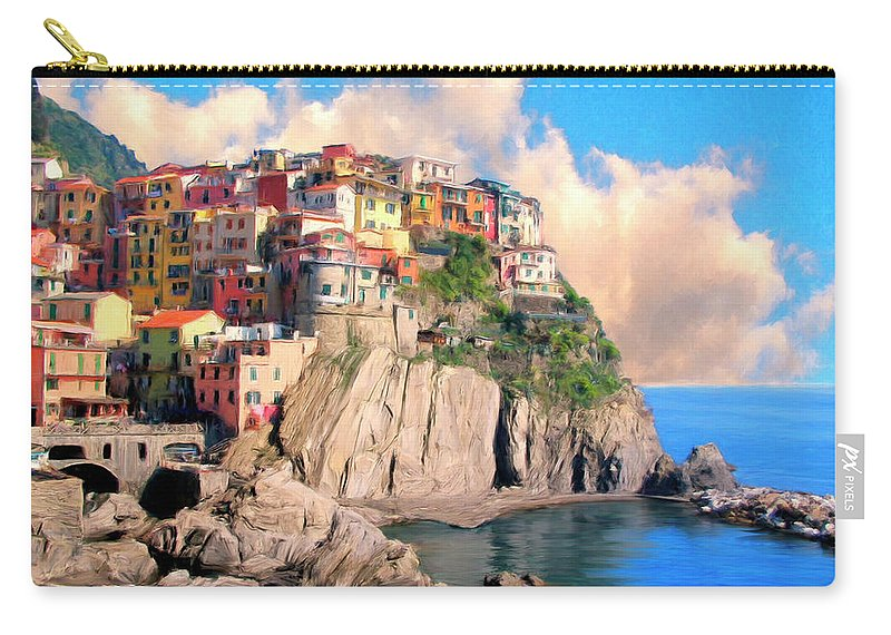 Italy Carry-all Pouch featuring the painting Cinque Terre by Dominic Piperata