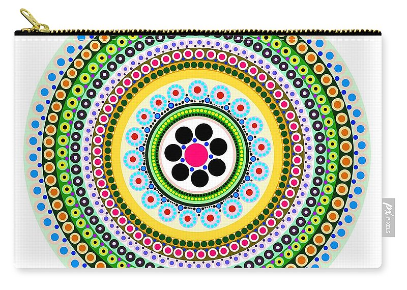 Geometric Art Carry-all Pouch featuring the painting Circle Motif 217 by John F Metcalf