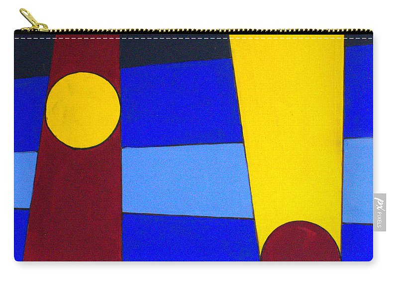 Abstract Carry-all Pouch featuring the painting Circles Lines Color by J R Seymour
