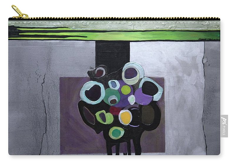Abstract Carry-all Pouch featuring the painting Circles Of Celadon by Marlene Burns