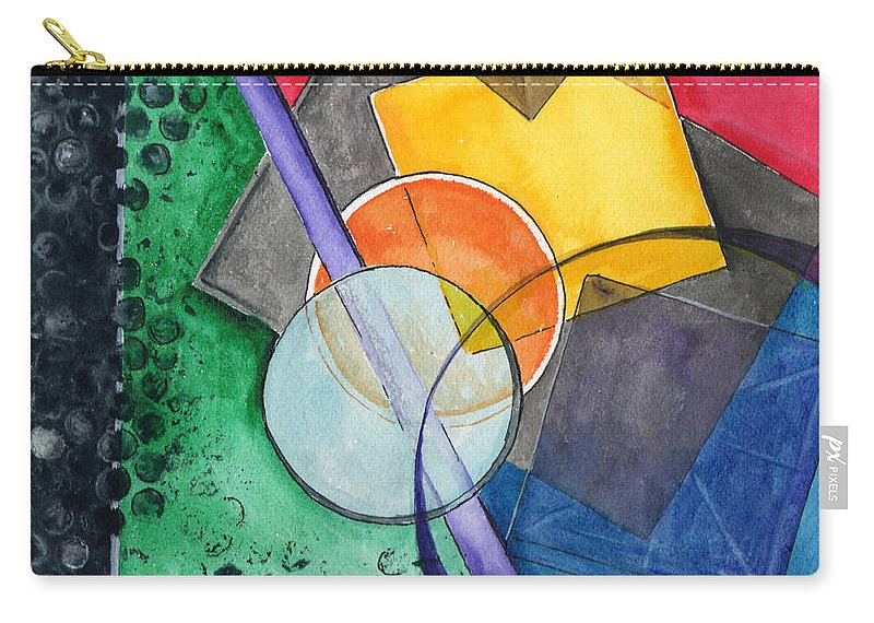 Watercolor Carry-all Pouch featuring the painting Circular Confusion by Brenda Owen