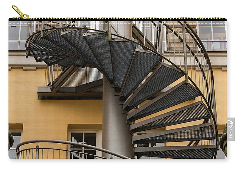Passau Germany Building Buildings Structure Structures Circular Staircase Staircases Stairs Window Windows Steps Architecture Carry-all Pouch featuring the photograph Circular Staircase by Bob Phillips