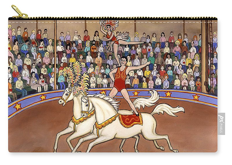 Folk Art Circus Carry-all Pouch featuring the painting Circus Bareback Riders by Linda Mears