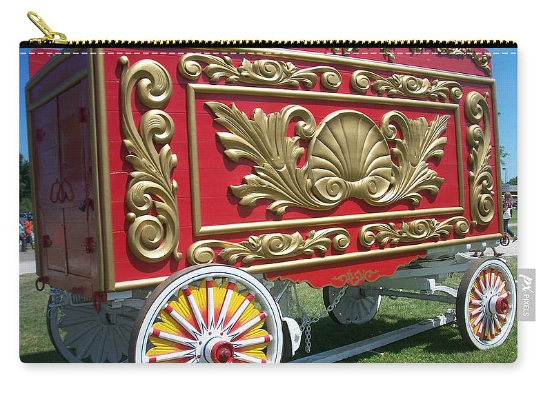 Circus Carry-all Pouch featuring the photograph Circus Car In Red And Gold by Anita Burgermeister