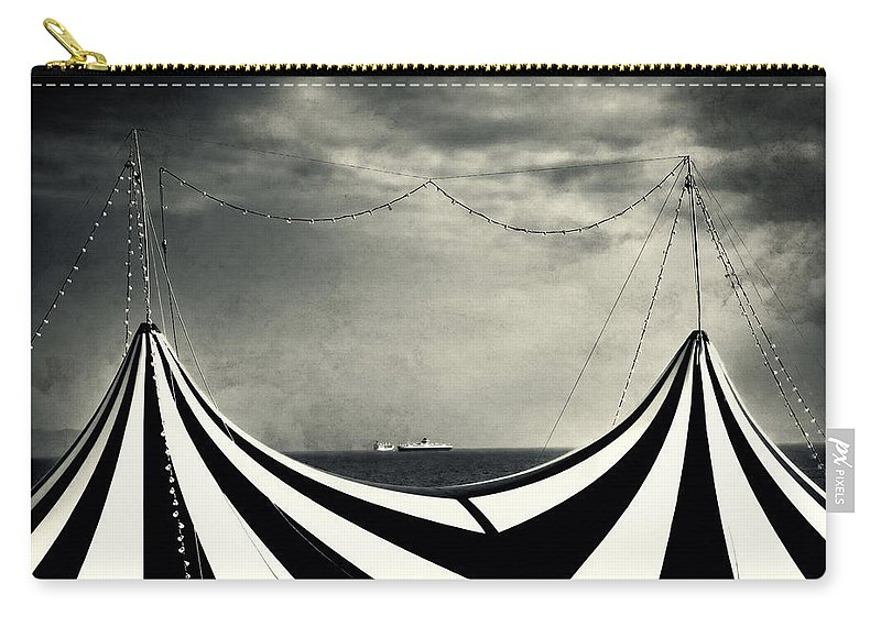 Split Toned Carry-all Pouch featuring the photograph Circus With Distant Ships by Silvia Ganora