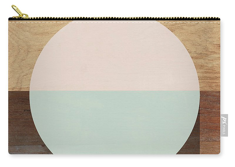 Modern Carry-all Pouch featuring the mixed media Cirkel in Peach and Mint- Art by Linda Woods by Linda Woods