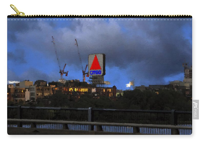 Citgo Sign Carry-all Pouch featuring the digital art Citgo Sign by Edward Cardini