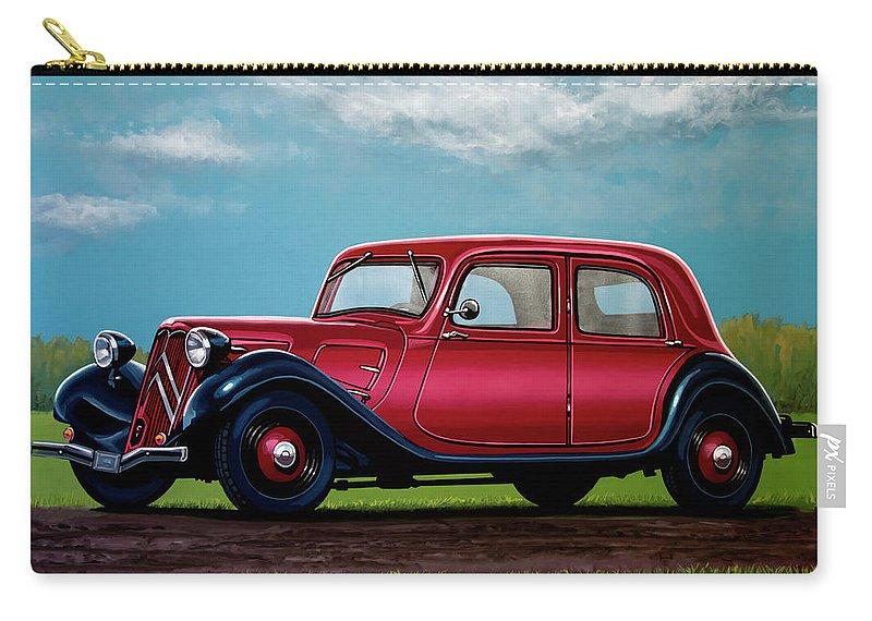 Citroen Traction Avant Carry-all Pouch featuring the painting Citroen Traction Avant 1934 Painting by Paul Meijering