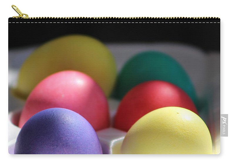 Dye Carry-all Pouch featuring the photograph Citrus and Ultra Violet Easter Eggs by Colleen Cornelius