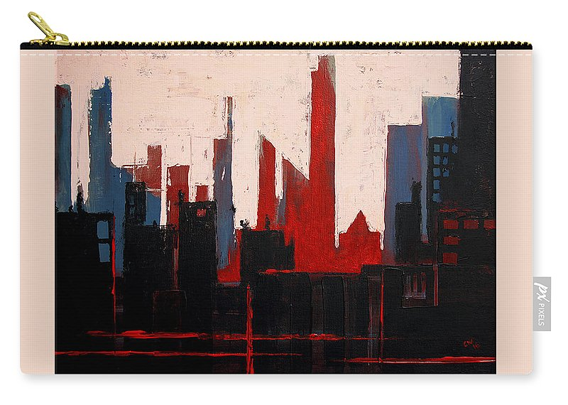 Acrylic Carry-all Pouch featuring the painting City Abstract No. 1 by Courtney Waller