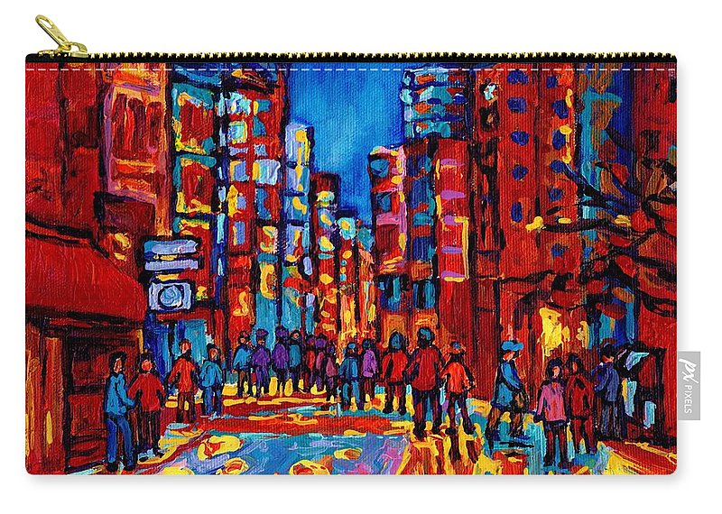 Montreal Carry-all Pouch featuring the painting City After The Rain by Carole Spandau