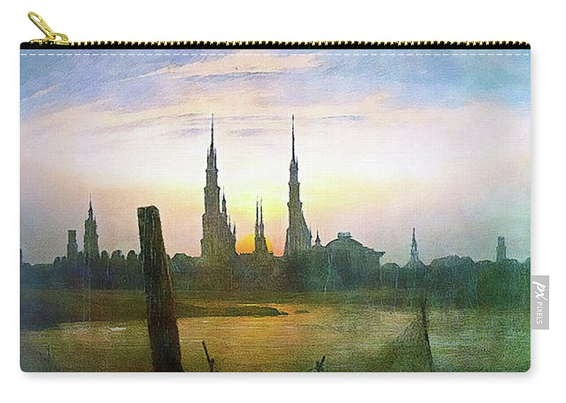Landscape Carry-all Pouch featuring the painting City At Moonrise by Media Impasto Paper