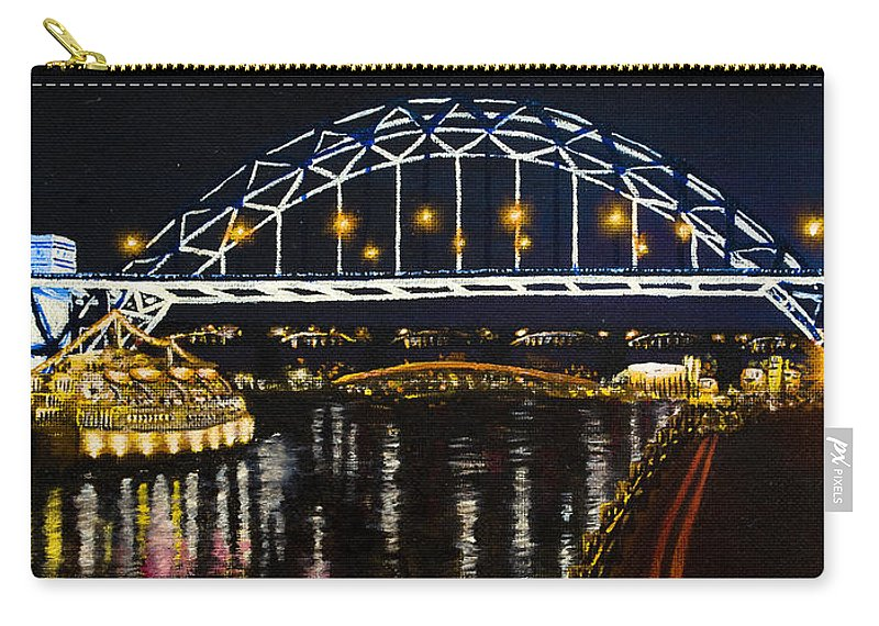 Black Carry-all Pouch featuring the painting City At Night by Svetlana Sewell