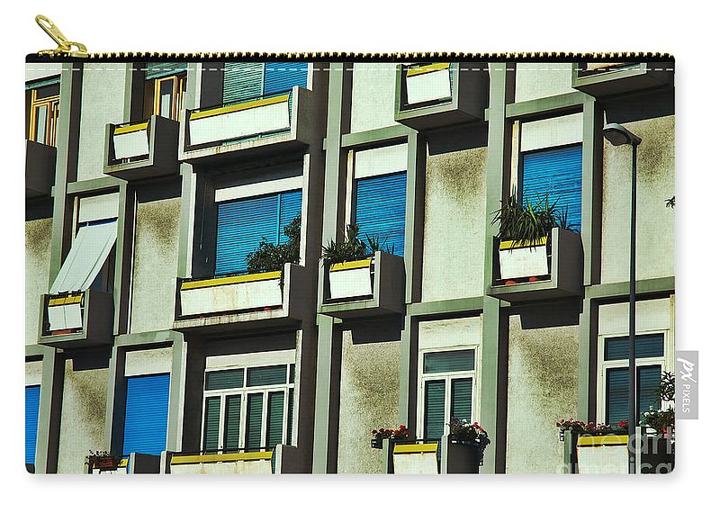 City Carry-all Pouch featuring the photograph City Balconies by Silvia Ganora
