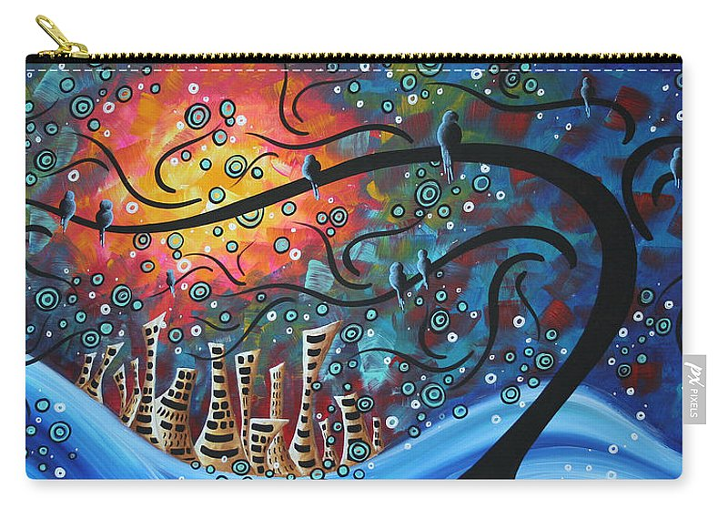 Art Carry-all Pouch featuring the painting City By The Sea By Madart by Megan Duncanson