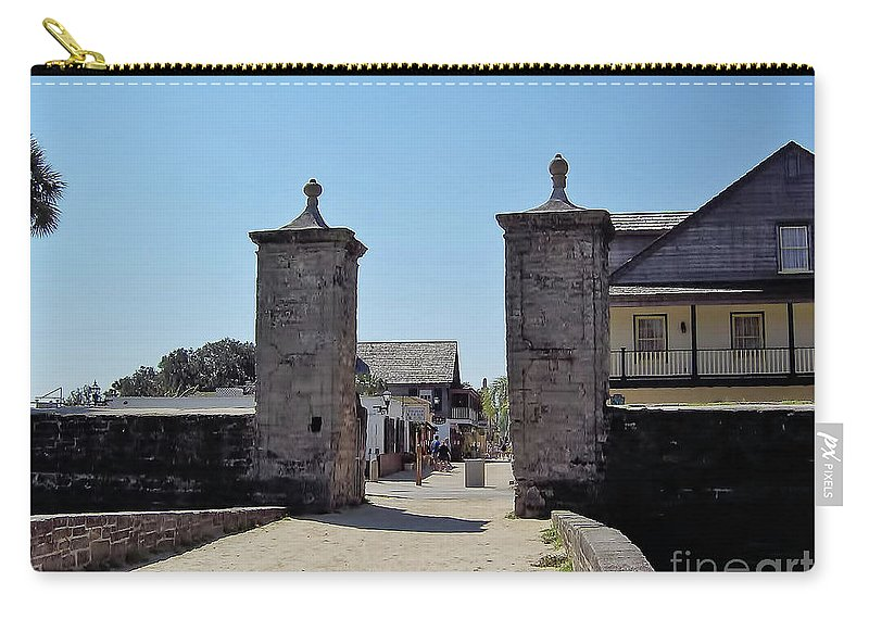 City Gates Carry-all Pouch featuring the photograph City Gate Of St Augustine by D Hackett
