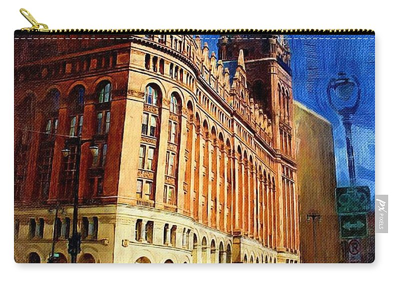 Architecture Carry-all Pouch featuring the digital art City Hall And Lamp Post by Anita Burgermeister