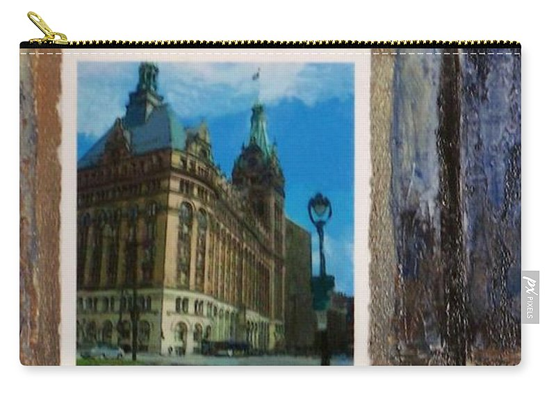 City Hall Carry-all Pouch featuring the mixed media City Hall And Street Lamp by Anita Burgermeister