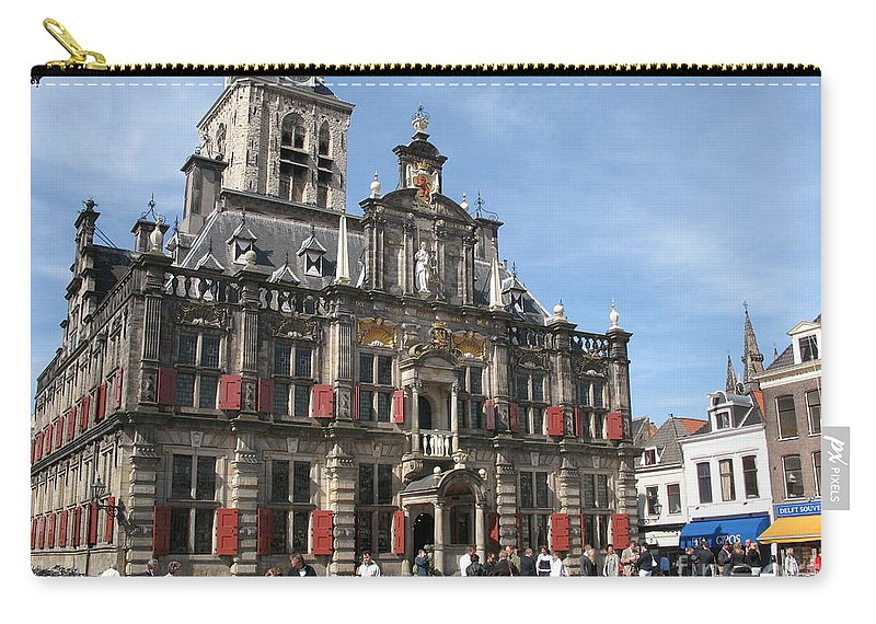 City Hall Carry-all Pouch featuring the photograph City Hall - Delft - Netherlands by Christiane Schulze Art And Photography