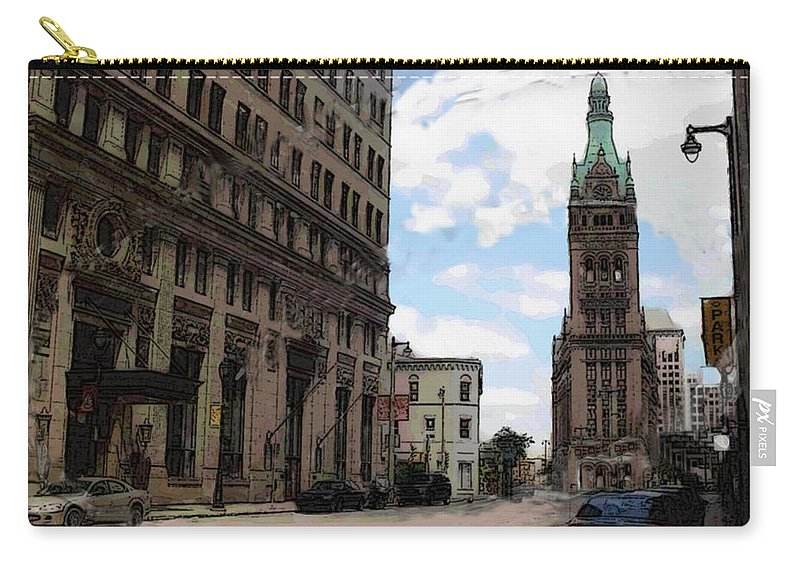 City Hall Carry-all Pouch featuring the digital art City Hall View From South by Anita Burgermeister