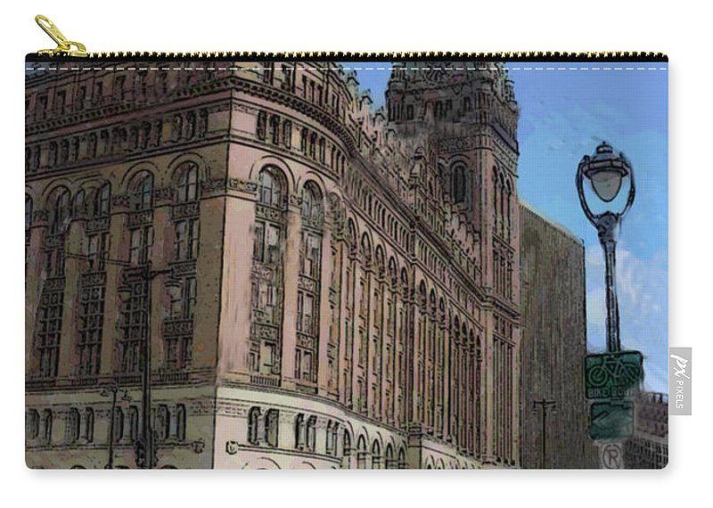 City Hall Carry-all Pouch featuring the digital art City Hall With Street Lamp by Anita Burgermeister
