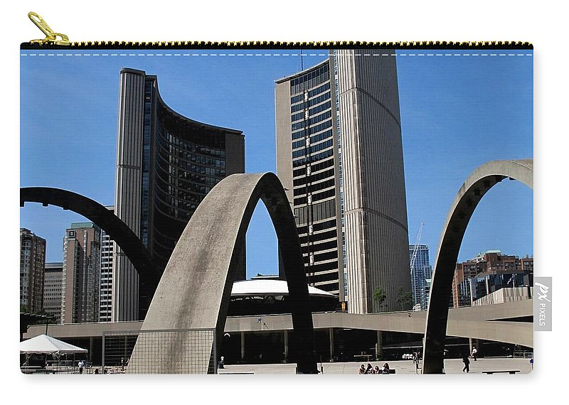Toronto Carry-all Pouch featuring the photograph City Halll Arches by Ian MacDonald