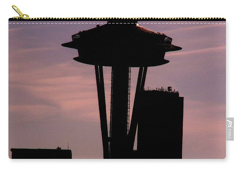 Seattle Carry-all Pouch featuring the digital art City Needle by Tim Allen