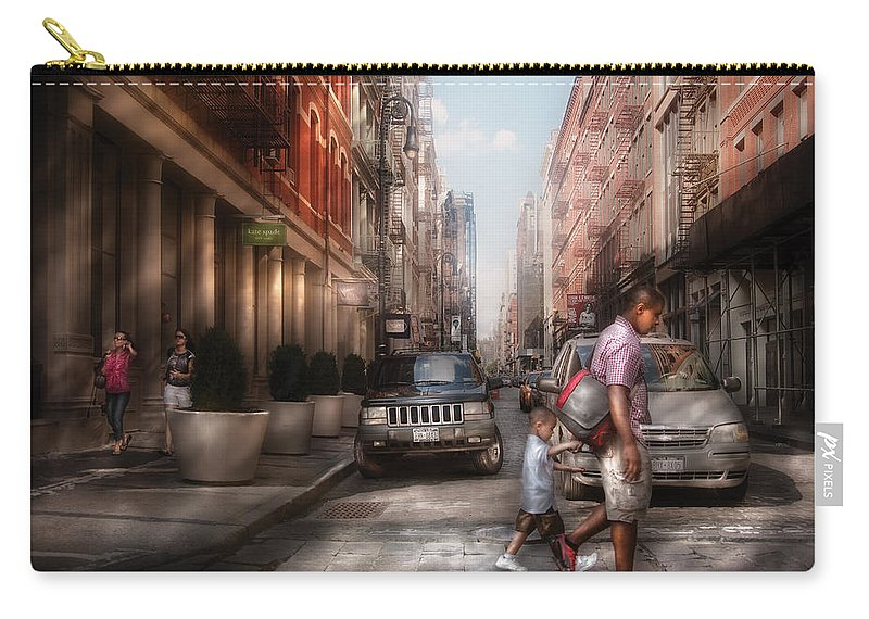 Savad Carry-all Pouch featuring the photograph City - Ny - Walking Down Mercer Street by Mike Savad