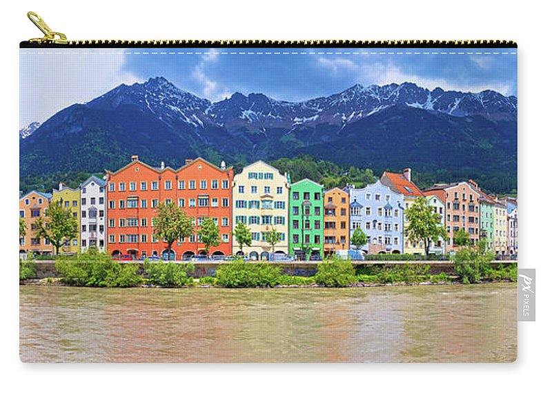 Inn Carry-all Pouch featuring the photograph City Of Innsbruck Colorful Inn River Waterfront Panorama by Brch Photography
